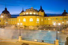 Public Baths, Night Stock Image