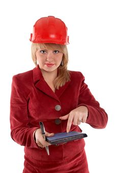 Free Businesswoman In Red Helmet Stock Photo - 4274460