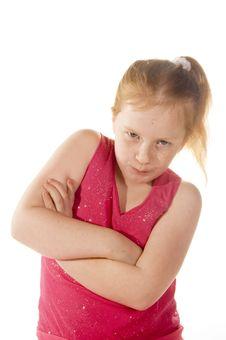 Young Little Girl Look Tuff Stock Image