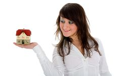 Free Business Woman Advertises Real Estate Royalty Free Stock Photography - 4278037