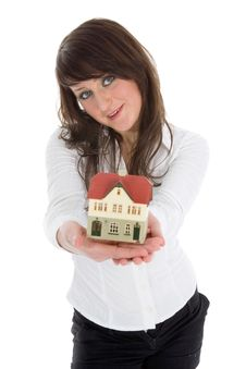Free Business Woman Advertises Real Estate Royalty Free Stock Photo - 4278055