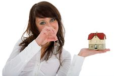 Free Business Woman Advertises Real Estate Stock Photography - 4278062