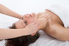 Free Facial Massage To The Girl Stock Photos - 4278083