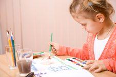 Free Pretty Caucasian Child Watercolor Paint Stock Image - 4278141