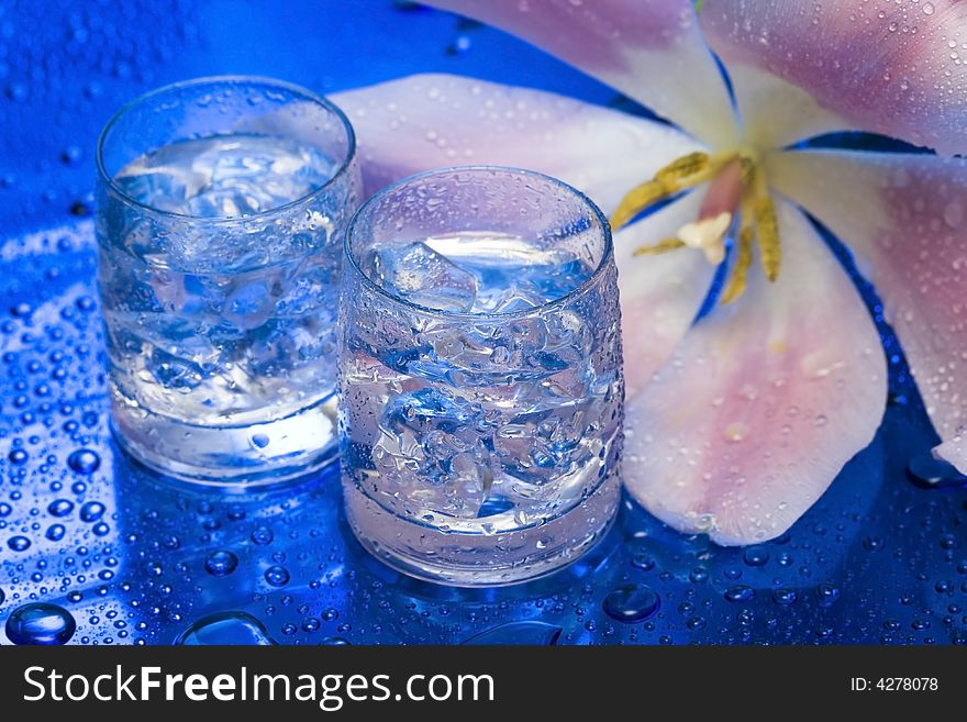 Glasses with water and flower