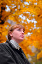 Free Woman Look Forward In Autumn Park Royalty Free Stock Photography - 4283447