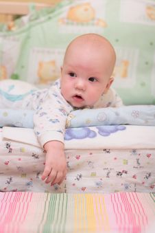 Free Baby Rest On Bed Stock Image - 4281281