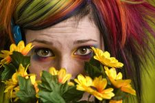 Free Punk Woman With Plastic Flowers Royalty Free Stock Images - 4281509
