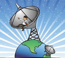 Free Businessman Sit On The Satellite Dishes Stock Photos - 4282333