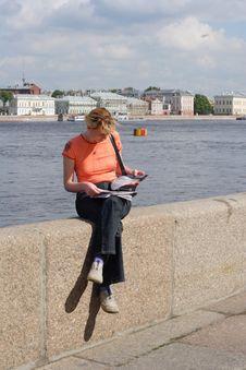 Girl Reading Magazine Royalty Free Stock Image