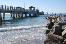 Free Beach Rocks And Pier Royalty Free Stock Photography - 4283187