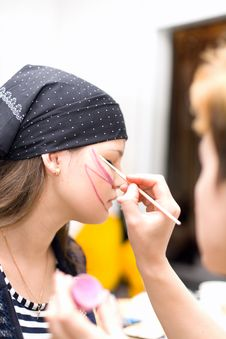 Preparing Make Up To Actress Before Scene Stock Photography