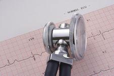Free EKG And Stethoscope Royalty Free Stock Image - 4284246