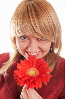 Free Smiling Girl With Red Flowers Stock Photography - 4284342