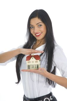 Free Business Woman Advertises Real Estate Royalty Free Stock Photos - 4284568