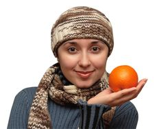 Free Woman With An Orange Stock Photos - 4285603