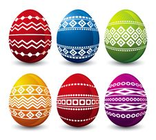 Free Six Easter Eggs, Vector Royalty Free Stock Photo - 4287715