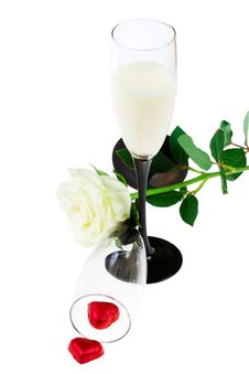 Free Two Glasses With A Rose And Red Hearts (isolated) Stock Photography - 4288372
