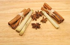 Cinnamon Star Anise And Lemon Grass Royalty Free Stock Photos