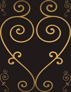 Golden Heart Frame Royalty Free Stock Photography
