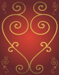 Free Golden Heart Stock Photography - 4290742