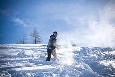 The Snowboarder Riding On A Virgin Soil Stock Photos