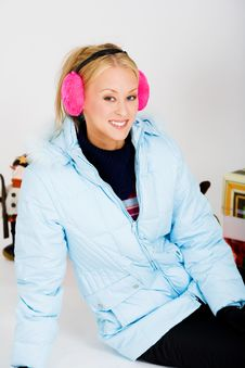 Cute Pink Muffs For Chilly Winter Stock Image