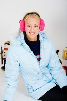 Cute Pink Muffs For Chilly Winter Stock Images