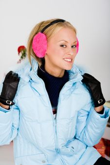 Cute Pink Muffs For Chilly Winter Stock Photography