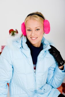 Cute Pink Muffs For Chilly Winter Royalty Free Stock Photo