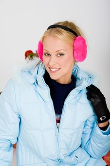 Cute Pink Muffs For Chilly Winter Royalty Free Stock Photos
