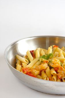 Free Penne Pasta With Shrimp Stock Image - 4294121