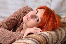 Free Red Woman On A Sofa Stock Image - 4294471
