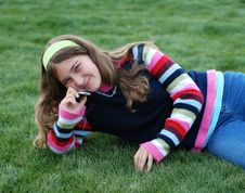 Free Young Girl And Cellphone Stock Image - 4295521