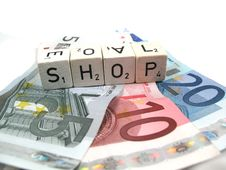 Several Euro Banknotes With The Word Shop Stock Photography