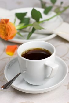 Free Cup Of Coffee With Orange Rose Royalty Free Stock Photos - 4297668