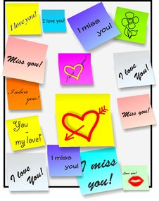 Stick Notes - Love Notes - Vector Royalty Free Stock Image