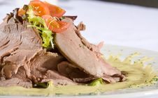 Beef Meat With Tomatoes And Greens On A Plate Royalty Free Stock Image