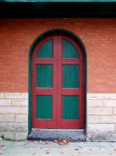 Green And Red Door. Stock Photos