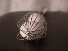 Free End View Eggs In Whisk Stock Photography - 435662