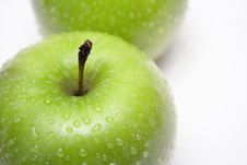 Two Green Apples W/ Raindrops (Close View) Stock Image