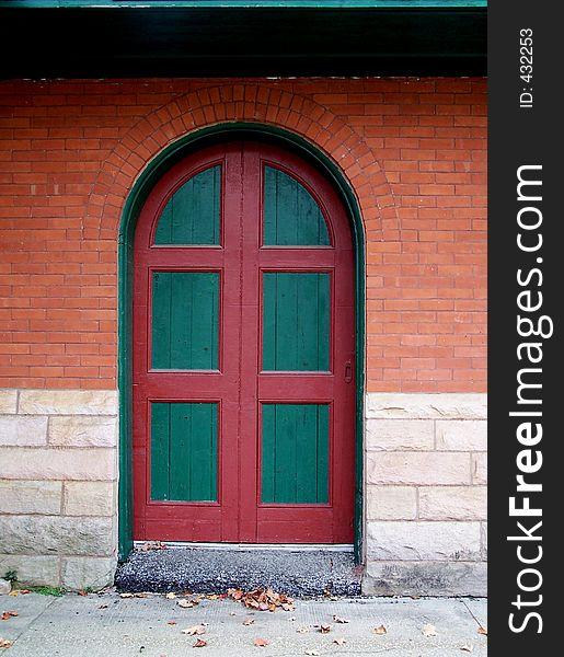 Green and red door.