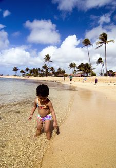 Toddler Playing In The Warm Hawaiian Waters Stock Photo