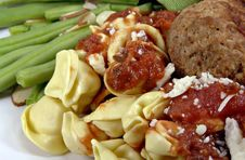 Free Tortellini And Meatballs With Sauce Royalty Free Stock Image - 4301006