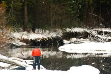 Free Photographer And Frozen Merced River Stock Images - 4301384