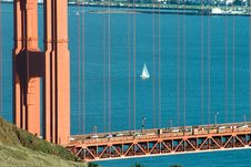 Free Golden Gate And Sail Boat Royalty Free Stock Photos - 4301388