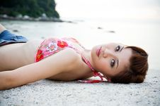 Free Woman Lying On The Beach Stock Images - 4303144