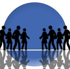 Free Black Crowd On Blue Circle Background Stock Photography - 4303902