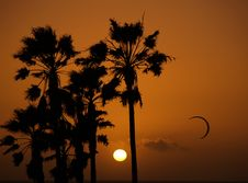 Sun Setting With Kite Surfer Silhouette Royalty Free Stock Photo