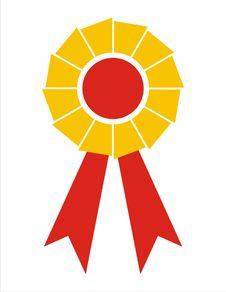 Free Award Ribbon Badge [Yellow+Red Royalty Free Stock Image - 4306026